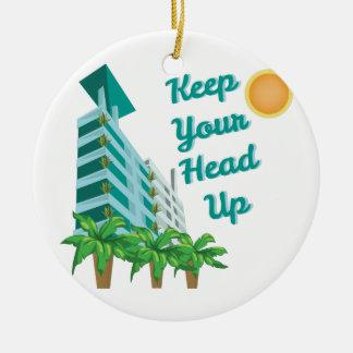 Keep Head Up Round Ceramic Decoration