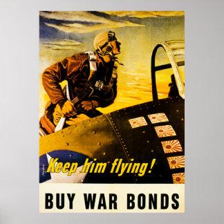 Keep Him Flying!  Buy War Bonds - Vintage WW2 Poster
