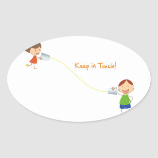 Keep in Touch (Kids) Oval Stickers