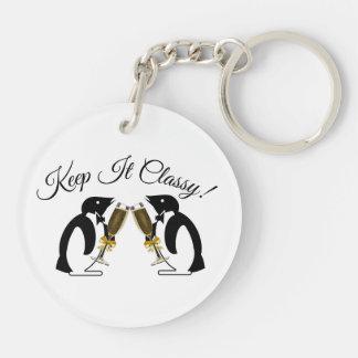 Keep It Classy! Toasting Penguins Key Ring