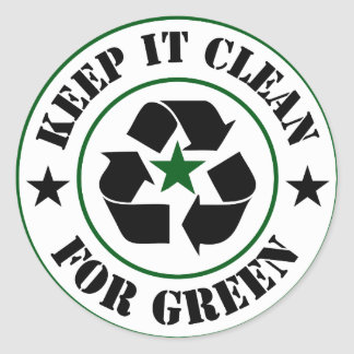 Keep It Clean For Green Logo Classic Round Sticker