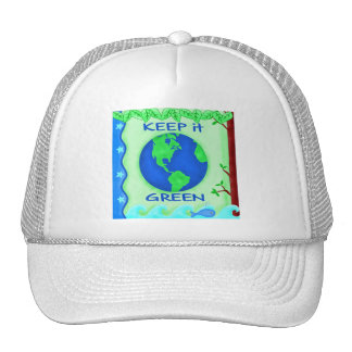 Keep It Green Save Earth Environment Art Cap
