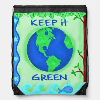 Keep It Green Save Earth Environment Art Drawstring Bags