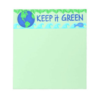 Keep It Green Save Earth Environment Art Note Pad