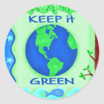 Keep It Green Save Earth Environment Art Round Sticker