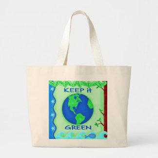 Keep It Green Save Earth Environment Art Jumbo Tote Bag