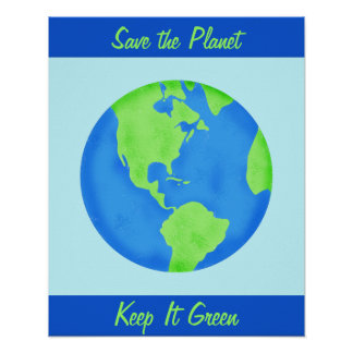 Keep It Green Save Earth Environment Blue Wall Art