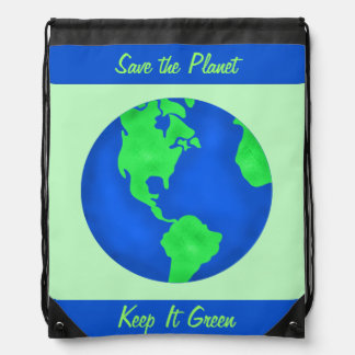 Keep It Green Save Planet Environment Art Custom Cinch Bags