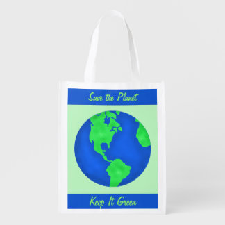 Keep It Green Save Planet Environment Art Custom Grocery Bag