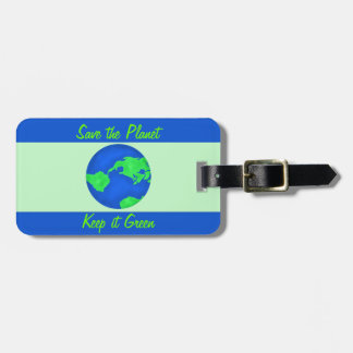 Keep It Green Save Planet Environment Art Travel Bag Tags