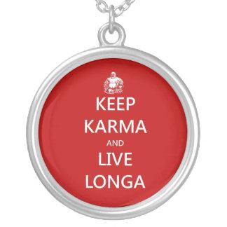 keep karma and live longa silver plated necklace