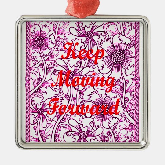 Keep Moving Forward Silver-Colored Square Decoration