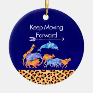 Keep Moving Forward Wild Animals Running Together Ceramic Ornament