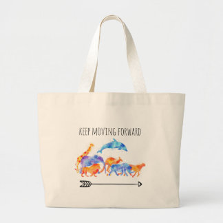 Keep Moving Forward Wild Animals Running Together Large Tote Bag