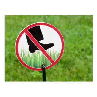 Keep Of The Grass Sign Postcard