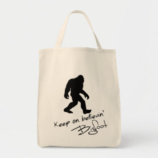 Keep On Believin' Bigfoot Autograph Grocery Tote Bag