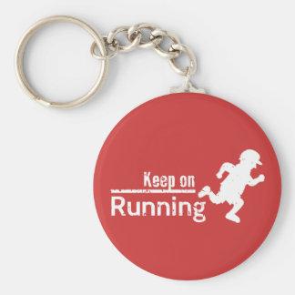 Keep on Running in White Grunge Key Ring