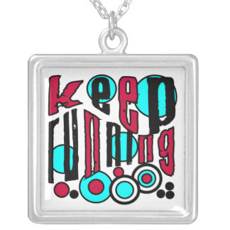 Keep Running Square Pendant Necklace