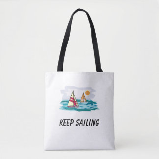 Keep Sailing Sailboat Beach Tote Bag