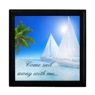 Keep Sake/Gift Box/Beach with Quote Large Square Gift Box