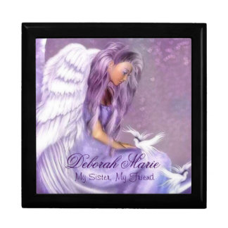 Keep Sake Gift Box/Jewelry Box/Angel and Doves Large Square Gift Box