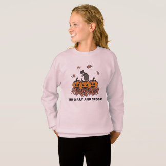 Keep Scary and Spooky pumpkin with cat leaf Sweatshirt