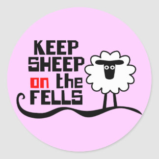 Keep Sheep on the Fells Round Stickers