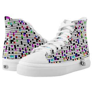 """""""Keep Shining. Keep smiling"""" color & white squares Printed Shoes"""