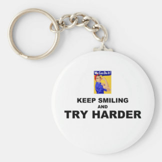 Keep Smiling And Try Harder Basic Round Button Key Ring