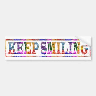 KEEP SMILING : Black Art in Colour Bumper Sticker