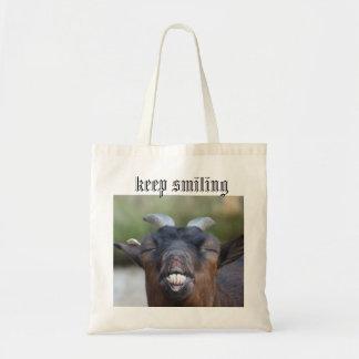keep smiling budget tote bag