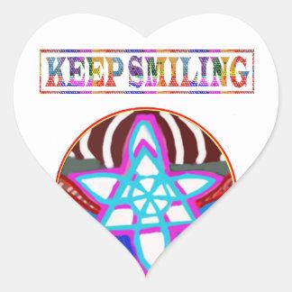 KEEP SMILING HEART STICKER