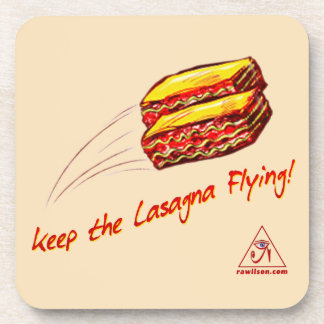 keep the Lasagna Flying hard plastic coasters