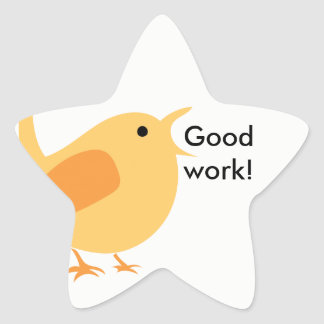 Keep Up the Good Work Bird Sticker, Star Star Sticker