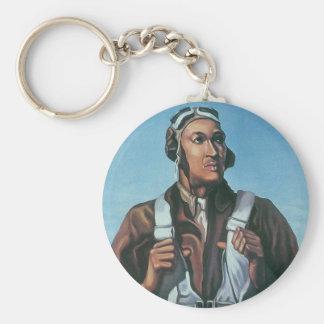 Keep Us Flying ~ Tuskeege Airman Basic Round Button Key Ring