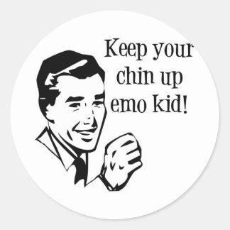 Keep Your Chin Up Emo Kid! Round Sticker