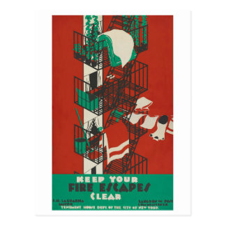 Keep Your Fire Escapes Clear Postcard