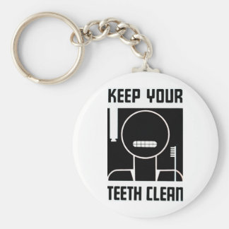 Keep Your Teeth Clean Basic Round Button Key Ring