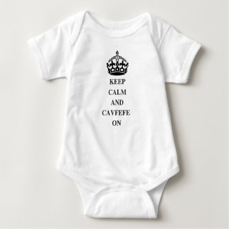 KEEPCALMANDCAVFEFE ON (1) BABY BODYSUIT