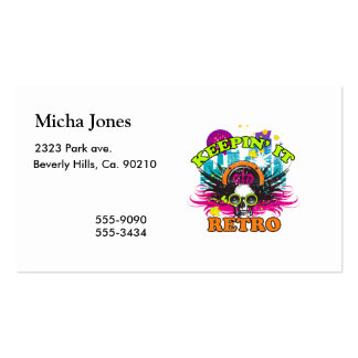 Keepin It Retro Neon Disco Crown Skull Pack Of Standard Business Cards