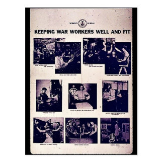 Keeping War Workers Well And Fit Postcards