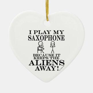 Keeps Aliens Away Saxophone Ceramic Ornament