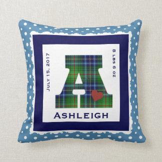 """Keepsake Baby Pillow, Green/Blue Plaid """"A"""" & heart Throw Pillow"""
