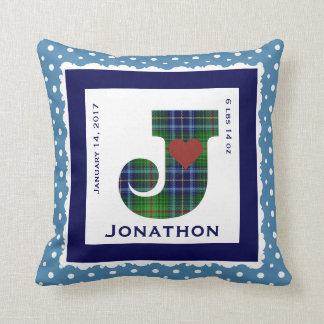 """Keepsake Baby Pillow, Green/Blue Plaid """"J"""" & Heart Throw Pillow"""