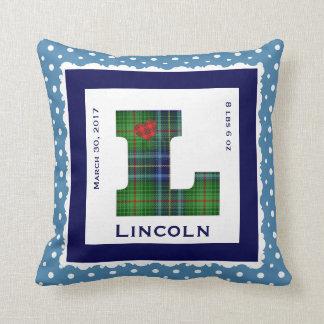 """Keepsake Baby Pillow, Green/Blue Plaid """"L"""" & Heart Throw Pillow"""