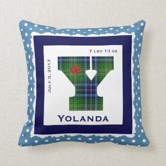 "Keepsake Baby Pillow, Green/Blue Plaid ""Y"" Throw Pillow"