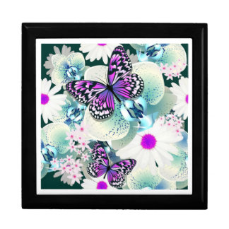 Keepsake Box/Butterflies and Flowers Large Square Gift Box
