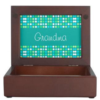 Keepsake Box for grandma, colorful circles.