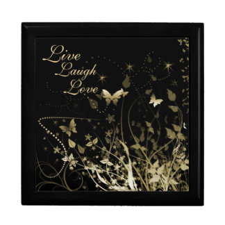 "Keepsake Box/""Live Laugh Love"" and Butterflies Large Square Gift Box"