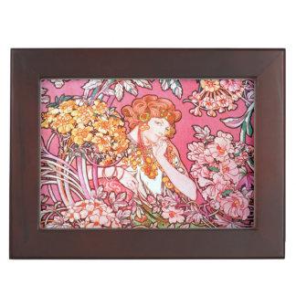 Keepsake Box With  Art Nouveau Floral Design